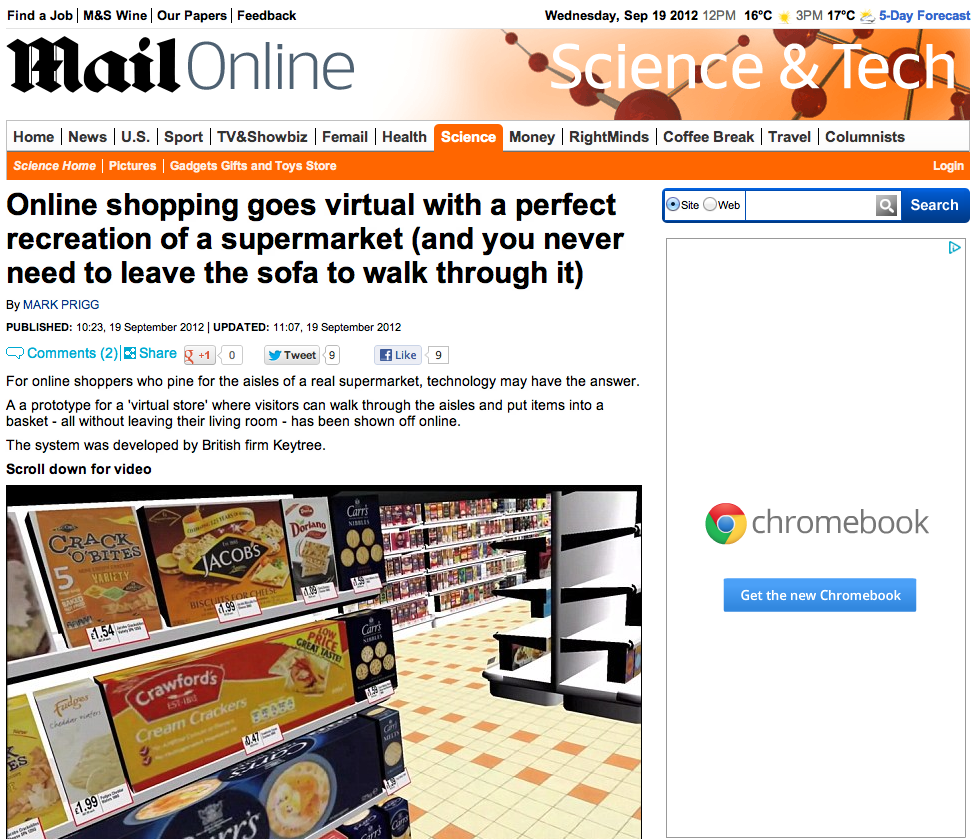 Daily Mail - Online shopping goes virtual with a perfect recreation of a supermarket (and you never need to leave the sofa to walk through it)