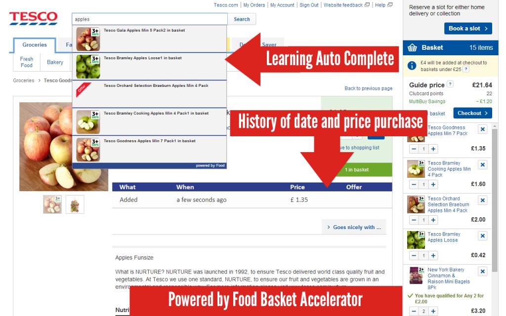 Food Basket Accelerator for Tesco Groceries